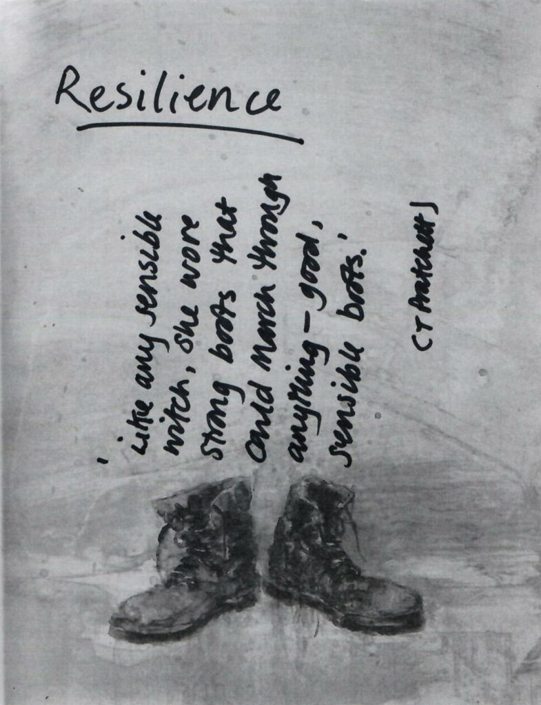 Boots picture with resilience quotation - creativity